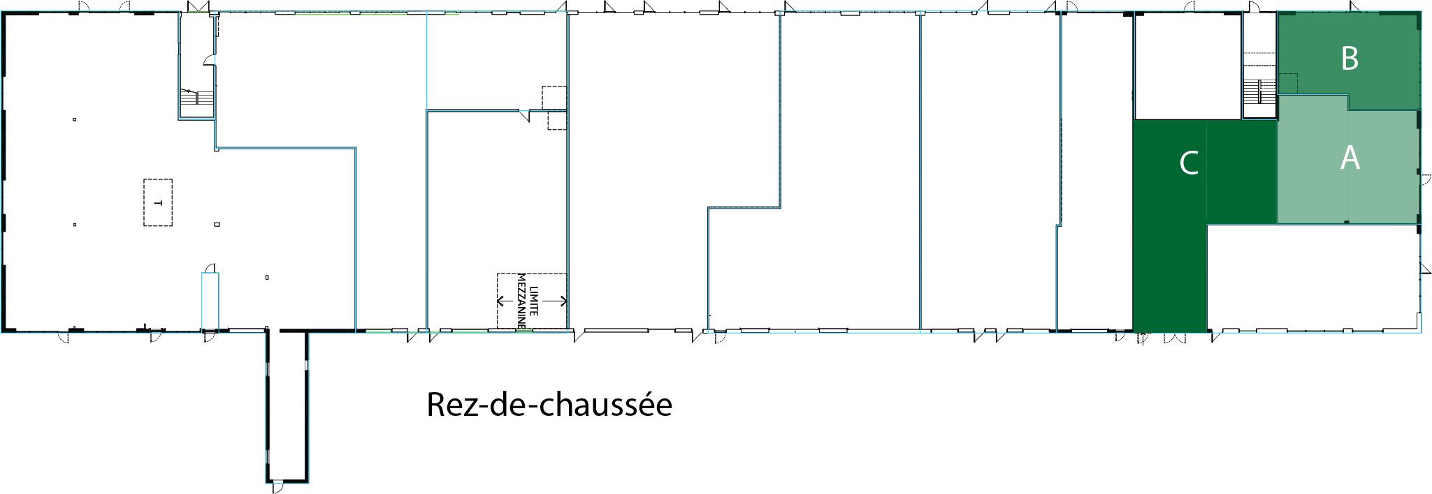 Plan RDC 1200 - locaux A et C